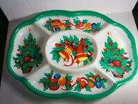 Vintage Christmas Holiday Molded Plastic Tray Snack Tray Tree Made in Hong Kong