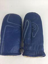 Vtg Grandoe Blue  Warm Winter Leather Mittens Ski Snow Gloves Size Men's M