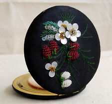 Antique PATENT Powder Compact Beaded Strawberry Embroidered Black Satin