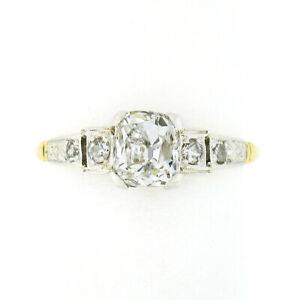 Antique Edwardian 18k Gold Platinum GIA Cushion Mine Cut Diamond Engagement Ring