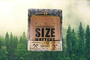 New Size Matters Quality Stainless Steele Pocket Flask Lumberjack Wood Veneer