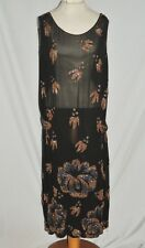1920 -30's Black Silk Chiffon Flapper Dress w Amber / Hemitite Colored Beads Med