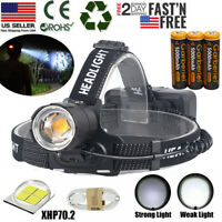 Ultra Bright 990000LM XHP70.2 LED Headlamp Headlight Zoom USB Rechargeable 18650