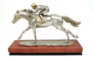 ROYAL SELANGOR R. Cameron Signed Pewter Racing Horse w Jockey Statue w Wood Base
