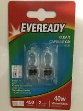 6x G9 40w Eveready Warm White DIMMABLE bulbs Watt 240V Clear (3 Twin Packs)