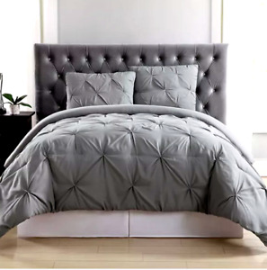 Truly Soft Twin Size Pleated Duvet Set Cover & 1 Sham Light Gray New in Package