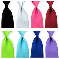 Men Formal Satin Solid Color Business Neckwear Necktie 8cm Wide Wedding Tie New