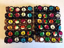 12 Pieces Round Wood Bead Peace Sign Bracelet Elastic Black & Brown Hippy