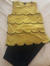 Ann Taylor Knit Sleeveless Top, Mustard With Navy Detailing, Small