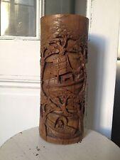 Pot à pinceaux en bambou sculpté , décor de personnages dans des bateaux Chine
