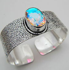 Rainbow Mystic Topaz 925 Starling Silver Jewelry Vintage Style Bangle 40 Gm  A1