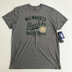 47 Brand Mens Large Milwaukee Bucks NBA Short Sleeve T-Shirt Gray Green 510618
