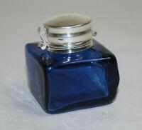 Vintage Antique Style Square Cobalt Blue Glass Inkwell Bottle Ink #1