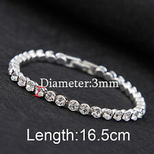 Fashion Women Luxury Austria Crystal Cuff Bangles Hand Chain Shiny Bracelets 1pc Silver(3mm)