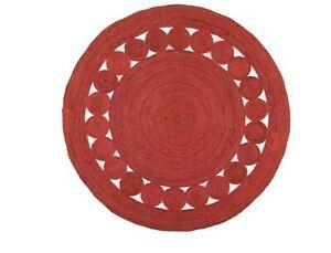 Jute Round Rug Braided Style 100% Natural 5x5 Feet  Home Modern Carpet Area Rug