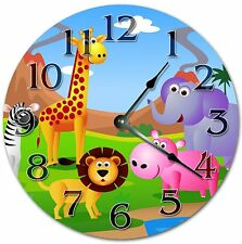 "10.5"" Zoo Animals Cartoon Clock - Nursery Clock - Large 10.5"" Wall Clock - 4064"