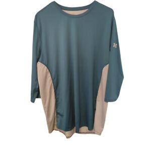 Under Armour Mens Heart Gear XL Fitted Shirt 3/4 Sleeve Teal Blue Grey