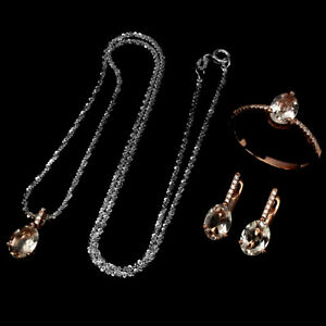 Oval 8x6mm Morganite Cz 14k Rose Gold 925 Sterling Silver Ring Earrings Necklace