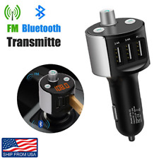 Bluetooth FM Transmitter Car Kit Wireless Radio Adapter USB Charger Phone Holder