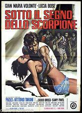 SOTTO IL SEGNO DELLO SCORPIONE MANIFESTO CINEMA BOSE' VOLONTE' 1969 POSTER 2F
