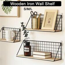 Wooden Iron Wall Shelf Wall Mounted Storage Rack Organization for Dorm Shelves