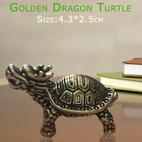 Chinese Hand Carved Brass Copper Dragon Turtle Statue Decor Pendant