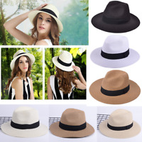 Fashion Women Wide Brim Straw Panama Roll up Fedora Beach Sun Hat Foldable Cap