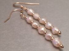 Beautiful White Freshwater Seed Pearls 14ct Rolled Gold Drop Earrings