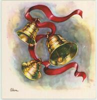 VINTAGE 1950'S CHRISTMAS GOLD BELLS SWIRLS RED RIBBON GREETING CARD ART PRINT
