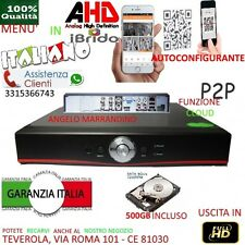 DVR 4 Canali AHD CON HARD DISK 500GB P2P CLOUD WEB SERVER PTZ HDMI APP IBRIDO
