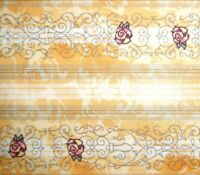 """1 Yard Red Roses Gold & Ecru Stripes  Cotton Quilting Fabric Piece 37"""" X 40"""""""