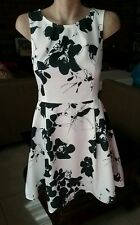 DOTTI White Fit And Flare Dress With Black Floral Print Size 10.