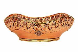 Brass Copper Curve Fruit Bowl Basket Home Decor & Tableware Gift Item 1350 ML