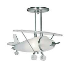 Searchlight Novelty Satin Silver Glass Airplane Chandelier Ceiling Pendant Light