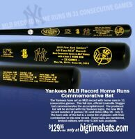 NEW YORK YANKEES MLB ALL TIME HOME RUN MOST CONSECUTIVE GAMES WITH HR BAT