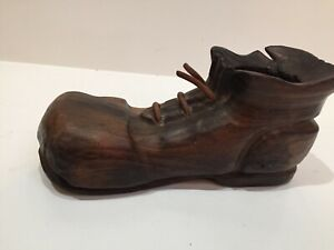 """vimax wood shoe W Leather Shoe Strings candle holder/planter made in spain 7""""x3"""""""