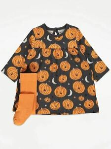 Baby Girls Halloween Dress and Tights Black Pumpkin Print Outfit Long Sleeve
