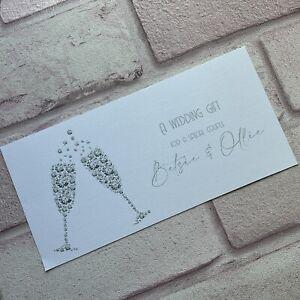 Personalised Handmade Money/Voucher/Gift Card Wallet WEDDING DAY Diamond Glasses