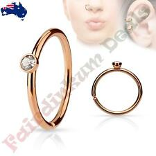 316 L Surgical Steel Rose Gold Ion Plated Nose Ring Hoop with Tiny Side Set CZ