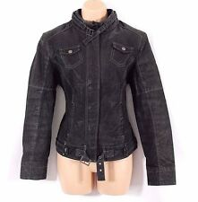VTG Black 100% Real Leather C&A Fitted Biker Ladies Coat Jacket Size UK 10 UK 12