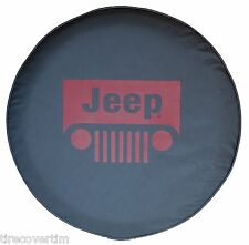 SpareCover Brawny Series - Jeep Classic 32  RED logo Black VinylDenim Tire Cover