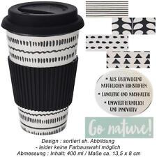Öko Coffee to Go Kaffe Tee Becher Cup Bambus Bamboo Silikonring BPA frei Retro