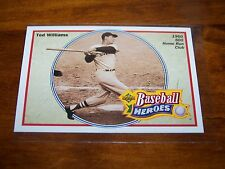 BOSTON RED SOX TED WILLIAMS 1991 UPPER DECK BASEBALL HEROES #34 OF 36