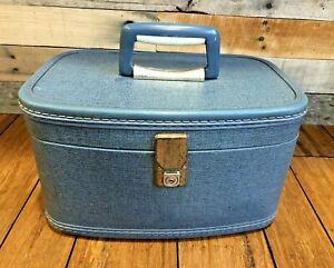 60's Train Case Makeup Blue Suitcase Luggage Travel-Smart Vintage Carry On