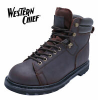 MENS BROWN LEATHER WESTERN CHIEF WIDE-FIT E LACE-UP ANKLE WORK BOOTS UK 7-13