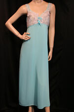 L Turquoise Blue Nylon Vtg 70s White Lace Ruffle Bodice Nightgown Long Gown 9207