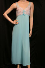 CHIC L Vtg 1970s MOD LACE RUFFLE BUST Turquoise Blue Nylon Nightgown 70s Gown