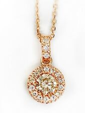 14k Rose Gold 1/3Ct Diamond Center Pendant Necklace