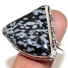 U36955 Snowflake Obsidian 925 Sterling Silver Plated Ring Us 7.5