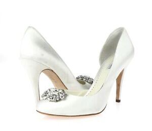Womens BENJAMIN ADAMS LONDON White Satin Pumps Shoes Sz. 8